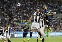 Ever Banega crossed for Mauro Icardi (right) to head home the equaliser for Inter