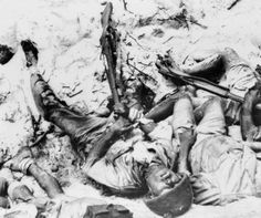 9th March 1944: A dead Japanese soldier, who shot himself rather than surrender to the Americans, on Namur Island in the Marshall Islands in the South Pacific. (Photo by Keystone/Getty Images)