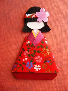 Japanese Origami Paper Art  doll  for 1500 free paper dolls, go to my website Arielle Gabriel's The International Paper Doll Society...