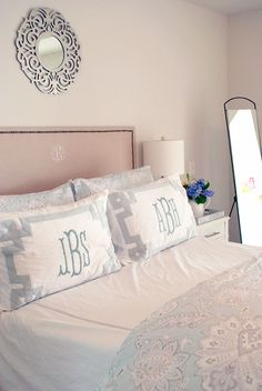 Pretty new bedding in the master bedroom, Tahari Home at HomeGoods with Ballard Designs monogrammed shams