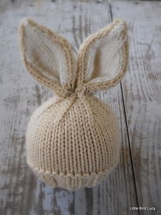 Knit Baby Bunny / Newborn Hat, Easter Rabbit, Knitted Photo Prop, Biscuit with Cream Inner Ears, Cus : how to loom knit a bunny hat ile ilgili görsel sonucu Loom Knitting, Baby Knitting, Knitting Patterns, Crochet Patterns, Free Knitting, Pdf Patterns, Pattern Ideas, Free Sewing, Baby Patterns