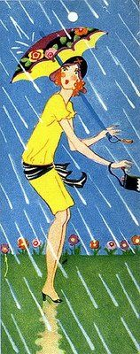 Rainy day Deco girl, ca. 1930s.