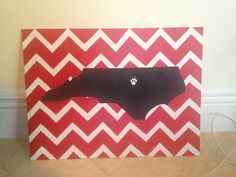 NC State Wolfpack chevron painted canvas