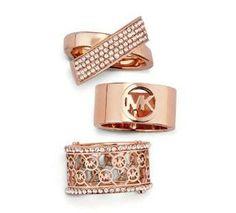 Michael Kors rings in rose gold.