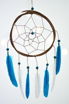 Blue Dreamcatcher Small - Boho Bohemian Wall Hanging Dream Catcher Baby Tribal Crib Nursery Car Baby Feathers  Baby Boy Girl