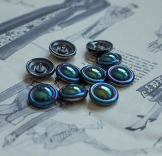 Vintage iridescent blue,green,purple round czech glass buttons by RubanRuban on Etsy