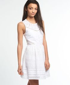 Superdry Lace Panel Skater Dress White