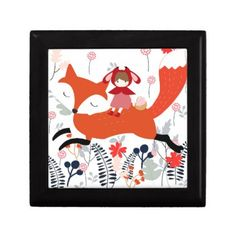 Red hood riding girl and fox in flower garden jewelry box - flowers floral flower design unique style