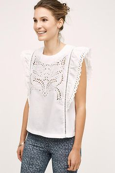 9046af5a1c The cutest white eyelet top with back buttons.Moon River Pastora Eyelet  Blouse Anthropologie Clothing