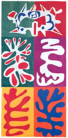 Esta obra de Henry Matisse de formato vertical esta hecha mediante collage. Matisse recorta formas orgánicas de diferentes colores sobre diferentes fondos de forma que resalten según los colores con los que se contrastan.