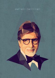 Amitabh Bachchan polygonal portraits on Behance