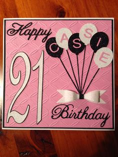 Female 21st balloons birthday card