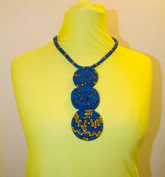 African Print Statement Necklace by Houseofola on Etsy African Necklace, African Jewelry, Fabric Necklace, Rope Necklace, Necklaces, African Print Dresses, African Print Fashion, Textile Jewelry, Fabric Jewelry