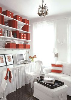 Home Office Organization: Create a unified look in your office by using binders, boxes, files and accessories all in the same color.