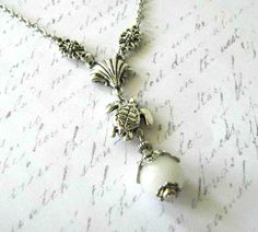 Antiqued silver turtle necklace white jade jewelry shell by STYR, $18.00