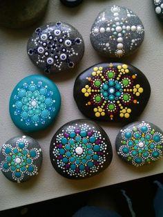 Painted Stone_ Teal & Magenta Dot Art Flower _ Mandala Stone _ Colorful Original Home Decor Ornament by P4MirandaPitrone on Etsy