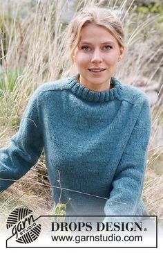Glacier Waters / DROPS 216-9 - Kostenlose Strickanleitungen von DROPS Design Drops Design, Knitting Patterns Free, Free Knitting, Crochet Patterns, Knit Cardigan, Pullover Sweaters, Knitting Gauge, Work Tops, Stockinette