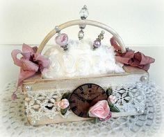Vintage Clock Pin Cushion Basket