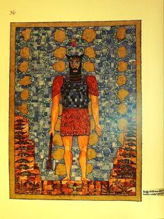 """One image appears on folio 36, """"The Remains of Earlier Temples."""" Jung's marginal notation says it was painted around Christmas 1915. This is a portrait of Izdubar, the figure now known as Gilgamesh. Jung discussed the Gilgamesh epic in 1912 in Transformations and Symbols of the Libido."""