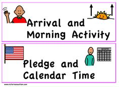 Labels and Locators Visual Schedule Printable, Mayer Johnson, Morning Activities, Time Icon, Calendar Time, Aba, Pre School, Social Skills, Autism