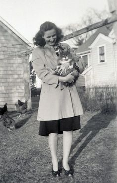 1940s coat || lady holding cat