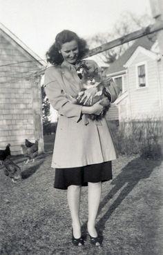 1940s coat || lady holding cat