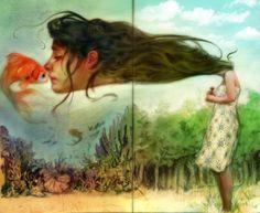 telescoping head for goldfish kiss | surreal art