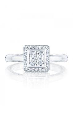Tacori Starlit 303-25PR5 | 18k white gold vintage milgrain engagement ring | Milanj Diamonds