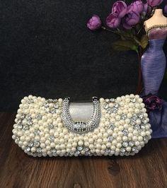 Bride clutch,Pearl clutch, Rhinestoneswedding clutch, Summer Wedding,  Pearl evening bag, Prom clutch by eSilkroad on Etsy