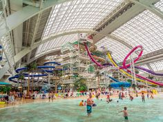 In Edmonton, Canada, you'll find the world's second-largest indoor water park inside the largest mall in North America, West Edmonton Mall.