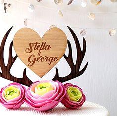 Personalized cake topper, deer antlers cake topper, custom cake topper, antlers heart topper, wooden rustic cake topper, names cake topper - Venue and reception decor (*Amazon Partner-Link)