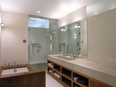 BBBBB countertop - love it Union Square Loft by Paul Cha Architect (11) Glass Shower Doors, Glass Bathroom, Bathroom Shelves, Modern Bathroom, Minimalist Bathroom, Contemporary Bathrooms, Bathroom Cabinets, Master Bathroom, Bathroom Interior