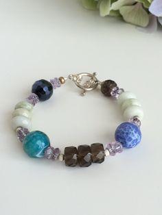 Smoky Quartz Green Blue Agate Bracelet - Brown & Blue Bracelet - Gemstone Bracelet - Beaded Bracelet - Handmade Bracelet