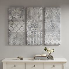 Madison Park Watercolor Ikat Taupe Natural Gel Coat Canvas 3 Pieces Set - Free Shipping Today - Overstock.com - 25406644