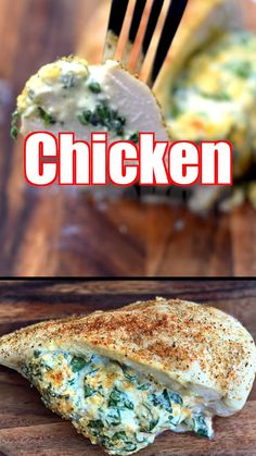 Easy, Low-Carb Keto Spinach Cream Cheese Stuffed Chicken is a quick and healthy dinner recipe loaded with boneless, skinless chicken breasts, cheddar, and mozzarella. You can use fresh or frozen spinach. This dish has only 1 net carb per serving making it Healthy Dinner Recipes, Gourmet Recipes, Low Carb Recipes, Diet Recipes, Chicken Recipes, Keto Chicken, Quick Recipes, Dessert Recipes, Smoothie Recipes