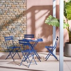 Perfect for smaller outdoor spaces, the Parc seat cobalt blue square folding garden table is a timeless design made from powder-coated steel. Buy now at Habitat UK. Outdoor Tables And Chairs, Garden Table And Chairs, Outdoor Dining, Outdoor Decor, Blue Garden Furniture, Outdoor Furniture Sets, Small Garden Table, Small Outdoor Spaces, Bistro Set