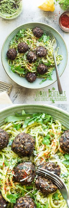 Vegan meatballs with lentils and mushrooms - Lazy Cat Kitchen - Vegan Recipes Veggie Recipes, Whole Food Recipes, Vegetarian Recipes, Dinner Recipes, Healthy Recipes, Tacos Vegan, Vegan Meatballs, Lentil Meatballs, Mushroom Meatballs