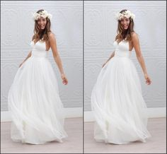 A Line Wedding Dress Real Simple Spaghettis Deep V Neck Backless White Tulle Long Bridal Dress Cheap Price Good Sales Fashion In China Designer Dresses Online Dresses Online Shopping From Lovemydress, $79.6| Dhgate.Com