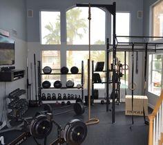Very clean garage gym that's not in a garage