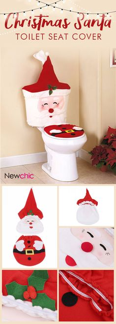 $9.14 New Year Christmas Santa #Toilet Seat Cover Rug #Bathroom Set #Christmas #Decorations For #Home