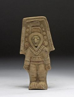 """Jamacoaque whistle, Manabi Province, Ecuador, Jama-Coaque, ca 500 CE. """"…this shaman's or warrior's eagle-like costume. The Precolumbian worship of sky animals stemmed from their belief that these feathered creatures served as messengers between man and his deities."""""""