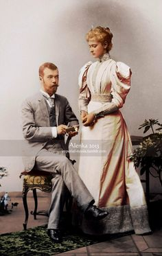 Newly engaged Tsarevich Nicholas Alexandrovich, soon to be last Emperor of Russia, and Princess Alix of Hesse, future Empress Alexandra Fyodorovna