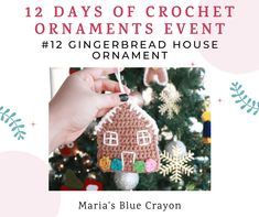 Free pattern for a crochet gingerbread house ornament. Add a handmade touch to your decorating for Christmas! Gingerbread Ornaments, Crochet Christmas Ornaments, Christmas Crochet Patterns, Holiday Crochet, Crochet Snowflakes, House Ornaments, Christmas Items, Crochet Gifts, Christmas Angels