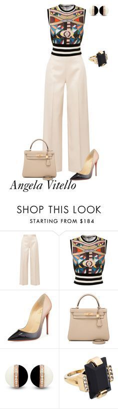 """Untitled #832"" by angela-vitello on Polyvore featuring The Row, Givenchy, Christian Louboutin, Hermès and Marni"