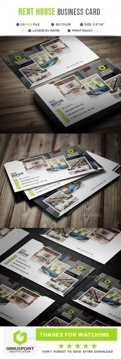 Buy Rent House Business Card by GeniusPoint on GraphicRiver. Features: Easy Customizable and Editable Business Card Design in with Bleed Setting inch) CMYK Colo. Business Postcards, Unique Business Cards, Business Web Design, Corporate Business, Letterhead Template, Brochure Template, Home Logo, Name Cards, Print Templates