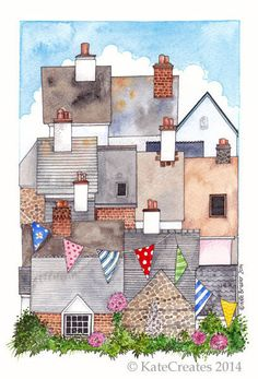 Fowey Rooftops - Limited Edition Giclee Print £20.00