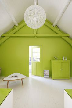 Bright green accent wall