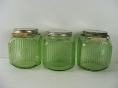 Green Depression Glass Cookie Jar from the 1930's.