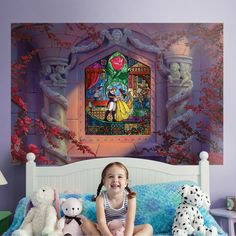 Stained Glass Christmas, Stained Glass Art, Glass Wall Art, Canvas Wall Art, Beauty And The Beast Bedroom, Disney Wall Murals, Disney Rooms, Disney House, Removable Wall