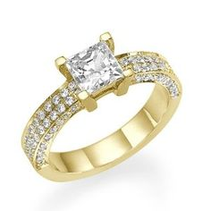 Diamond Engagement Ring with Sidestones 18K Yellow Gold 1.44 ctw Certified Princess Cut 2/3 ct Center Stone H Color SI1 Clarity